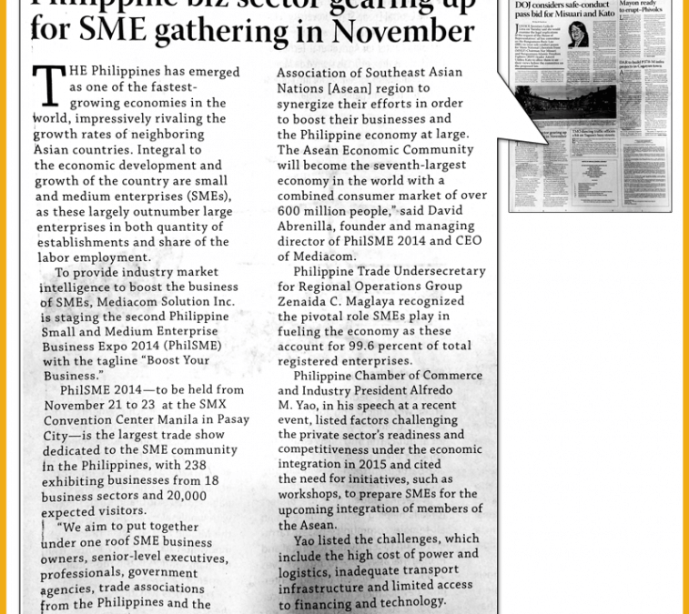 Business Mirror: Philippine Biz Sector Gearing Up for SME Gathering in November